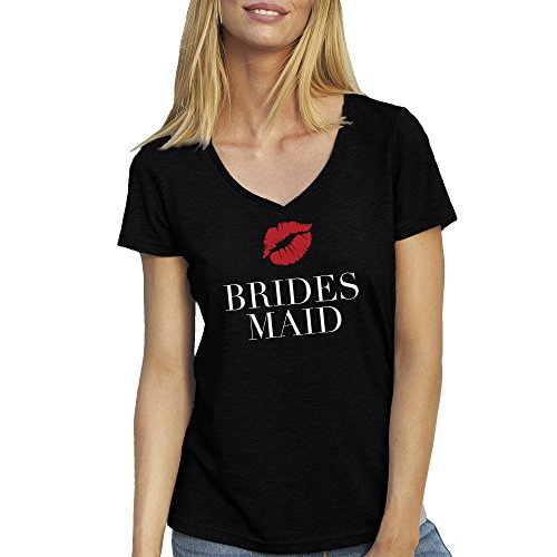 Bridesmaid Black Red Posh T-Shirt camiseta Cuello V para la Mujer Negro