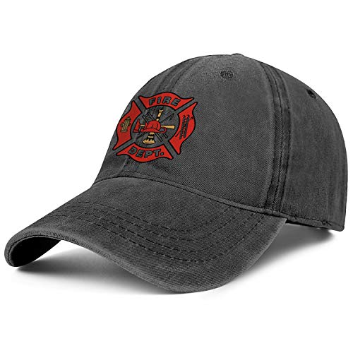 (DXQIANG IAFF Fire Dept Funny Denim Cap Soft Adjustable Baseball Caps Unisex)