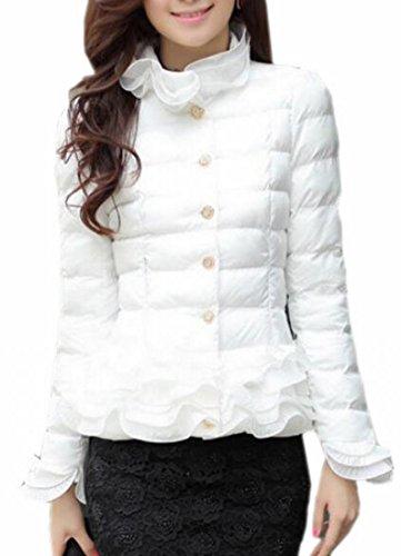 Ptyhk RG Women's Vogue Down Quilted Turtleneck Jacket Ruffle Puffer Coat White XL (Ruffle Neck Jacket)