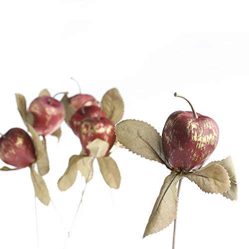 Rustic Apple (12 Rustic Red and Gold Foam Apple Picks for Floral Arranging, Creating and Embellishing)