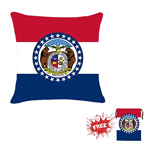 KDCZYLCA Decorative Throw Pillow Covers for Bed Sofa Car Kids Room Cotton Linen Cushion Covers 18 x 18 Inch Pillowcases Home Decor - Flag of Missouri
