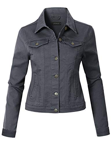 LE3NO Womens Casual Vintage Long Sleeve Button Down Denim Jean Jacket, Darkgray, Large