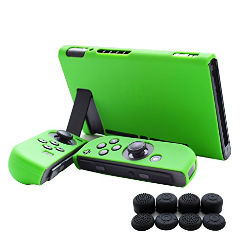 Hikfly 3pcs Silicone Gel Non-Slip Cover Skin Protector Case Kits Compatible for Nintendo Switch Consoles and Joy-Con Controllers with 8pcs Silicone Gel Thumb Grips (Case Cover Protector Faceplate)