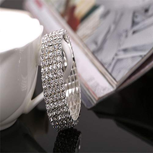 Crystal Rhinestone Stretch Bracelet Bangle | Wedding Bridal Wristband (Stretch Medallion)