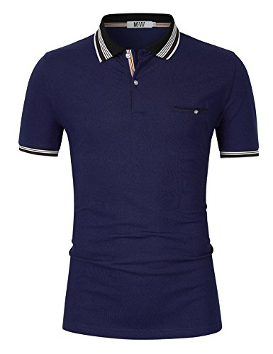 MrWonder Men's Casual Slim Fit Stripe Collar Short Sleeve Solid Polo Shirts (L, Royal Blue)