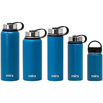 MIRA Stainless Steel Vacuum Insulated Wide Mouth Water Bottle | Thermos Flask Keeps Water Stay Cold for 24 hours, Hot for 12 hours | Metal Bottle BPA free cap | 12 oz (350 ml) | Hawaiian Blue