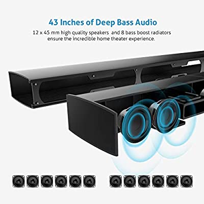 Meidong Soundbar,Sound Bars for TV Bluetooth Speakers Large Size 43 Inch High-Power 72 Watts with Stereo HiFi Opt Remote Control Home Theater System