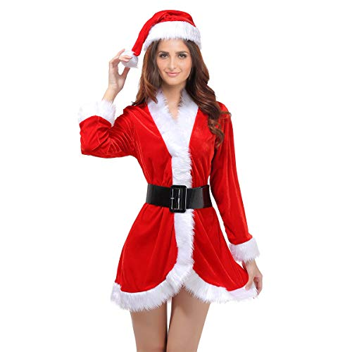 OULII Santa Claus Costume Womens Santa Suit Christmas Fancy Dress Costume with Dress Belt and Hat One Size - 3 Pieces]()