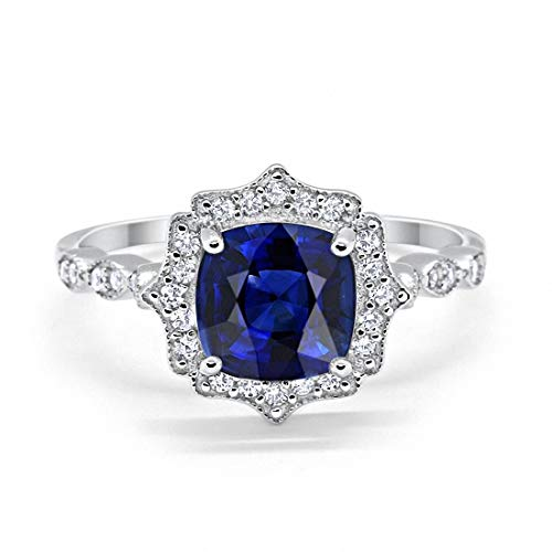(Halo Art Deco Engagement Ring Cushion Simulated Blue Sapphire Round Cubic Zirconia 925 Sterling Silver, Size-9)