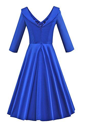 MELANSAY Femme Robe de Cocktail Vintage Manches 3/4 Robe Col V Swing Robe Midi XXL Bleu