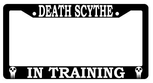 Death Scythe in Training Soul Eater Funny Humor License Plate Frame, Aluminum Metal License Plate Holder with Screw Caps - 2 Holes Car License Tag Frame for US Vehicles