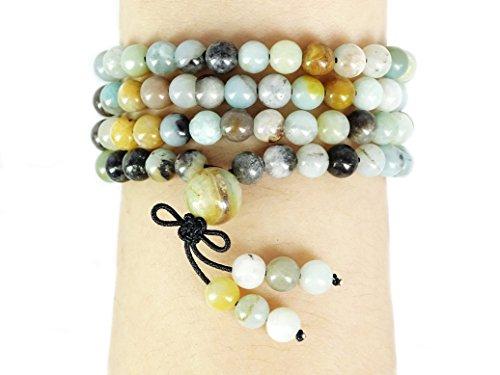 jennysun2010 Handmade Multi-Purpose Natural 6mm Multi-Colored Amazonite Gemstone Buddhist 108 Beads Prayer Mala Stretchy Bracelet Necklace Healing 26