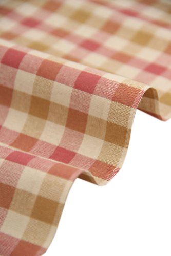 57'' Wide Home Quilting Fabric Cotton Plaids Fabric Pink&Yellow (17.557 Inches)