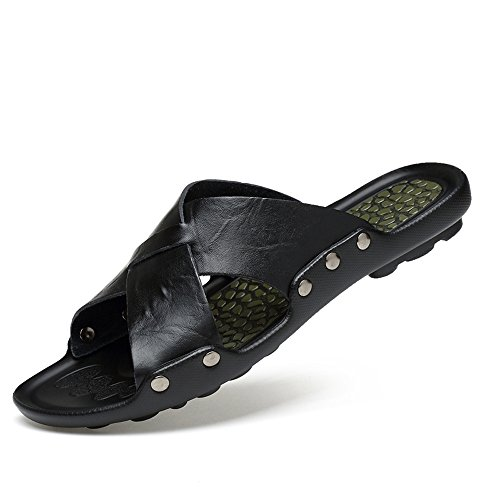 EnllerviiD Men Slip On Open Toe Slide Sandals Slippers Summer Casual Beach Shoes 1706 Black RsA85M