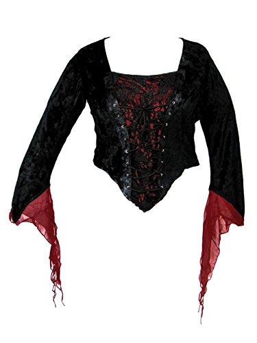 Dark Star Plus Size Black Velvet Red Satin Medieval Gothic Lace Corset Top 1X-3X