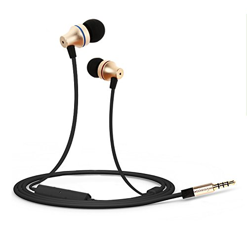 In-Ear Earphones Headphones, Gaoye G1000 3.5mm Jack HD Stereo Wired Earphones with Mic Gold-plated Noise Cancelling Sweatproof Headphones Stereo Earbuds 1.2M (G1)