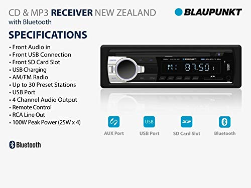 Blaupunkt New Zealand CD and MP3 Receiver with Bluetooth Aux Port /& SD Card Slot USB Port
