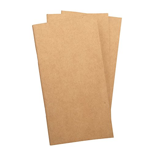 Blank Travelers Notebook Refill 3-Pack 4.5 x 8.5 Inch 100gsm Thick Standard Size Unlined Inserts, 192 Pages. Perfect for Sketching, Drawing