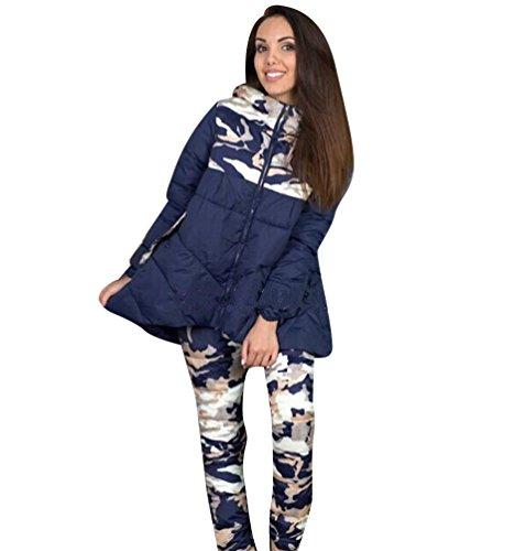 Manteaux Parka Capuche Blouson Doudoune Camouflage Femme Pièces Ensemble Hiver Veste Rembourré pantalons À 2 Bleu Niseng S8wqETq