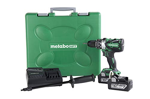 Metabo HPT DV18DBL2 18V Cordless Brushless Hammer Drill Kit, include 2-18V 6.0Ah Lithium Ion Slide-Type Batteries, Reactive Force Control, 1, 205 In/Lbs of Turning Torque