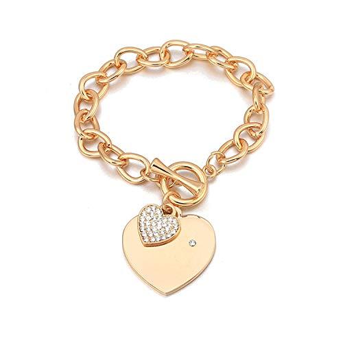 Love Heart Charm Bracelets For Women Gold Silver Color Bileklik Bracelet,Gold ()