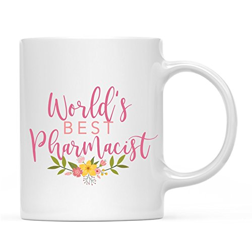 Andaz Press 11oz. Coffee Mug Gag Gift, World's Best Pharmacist, Floral Design, 1-Pack, Beautiful Unique Flower Coffee Cup Birthday Christmas Present Ideas for Her Women Wife Sister