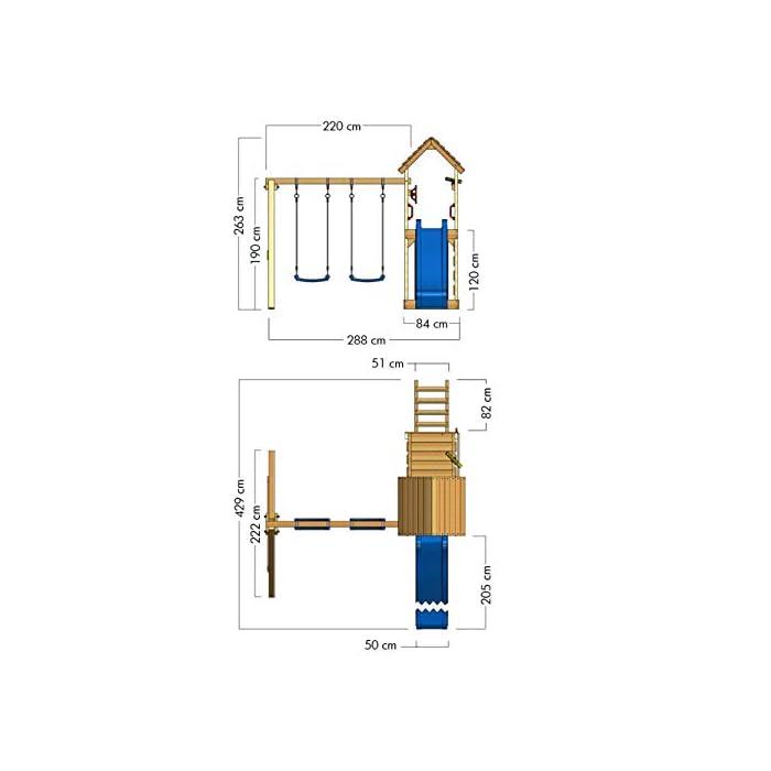 41%2Bm5FTR3NL WICKEY Torre de escalada incluyendo conjunto completo de accesorios con columpio, tobogán y cajón de arena Poste 9x4,5 - Poste de columpio 9x9cm - Madera maciza impregnada a presión - Made in Germany Calidad y seguridad aprobada - Instrucciones de montaje detalladas - Varias opciones de montaje