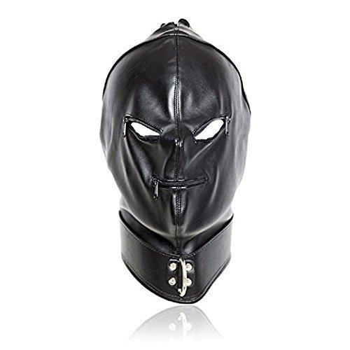 Black Bondage Faux Leather Head Mask Open Mouth&Eyes (black)