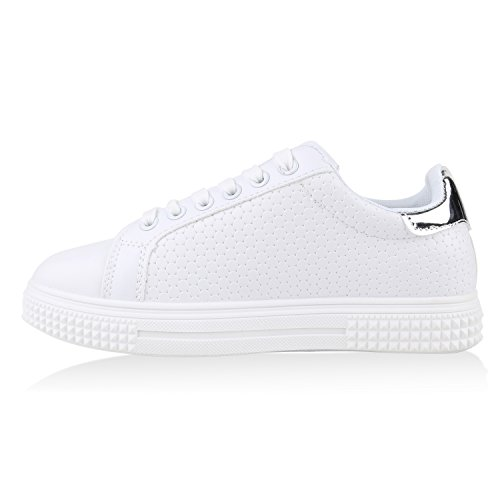 Damen Sneaker Low Basic Sneakers Lack Metallic Turnschuhe Glitzer Schuhe Snake Sportschuhe Leder-Optik Denim Schnürer Flandell Weiss Kreismuster