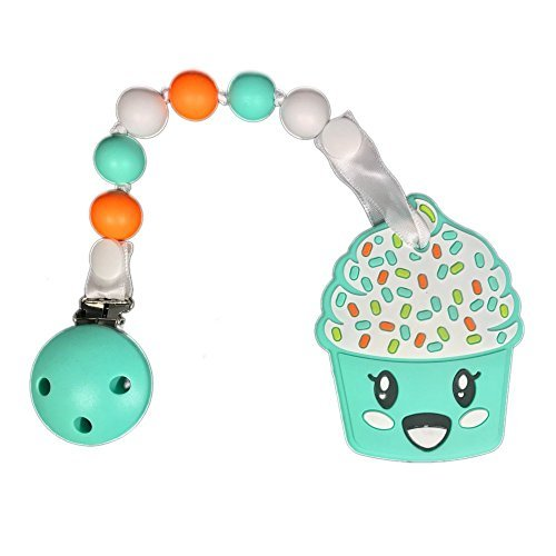 Gumeez Gumbaby Cupcake Teething Toy with Pacifier Clip, Turq