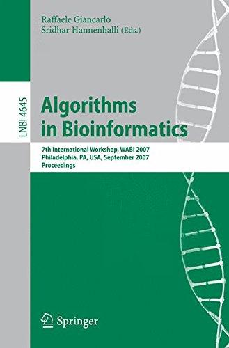 Read Online Algorithms in Bioinformatics: 7th International Workshop, WABI 2007, Philadelphia, PA, USA, September 8-9, 2007, Proceedings (Lecture Notes in Computer Science) pdf epub