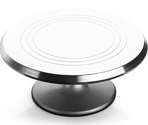 Revolving Cake Ateco Stand (Rotating Cake Turntable, Pottery Turntable, Cake Decorating Stand with Stainless Steel Ball Bearings Heavy Duty 12 INCH)