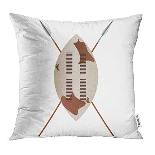 Emvency Throw Pillow Covers Cases Warrior African Shield Spears Design Zulu Masai Tribal Africa Ancient Animal Print Decorative Pillowcases 18