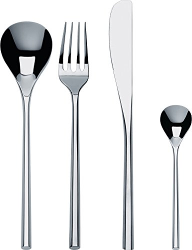 Alessi ''MU'' Flatware Set Composed Of Six Table Spoons, Table Forks, Table Knives,  Coffee Spoons in 18/10 Stainless Steel Mirror Polished, Silver by Alessi