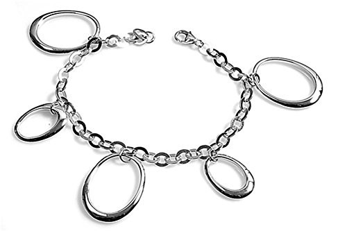 Charm Rolo Link Oval Bracelet .925 Sterling Silver - Silver Jewelry Accessories Key Chain Bracelet Necklace ()