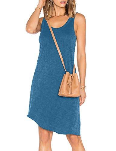 ALLY-MAGIC Womens Sleeveless Casual T Shirt Dress Beach Plain Racerback Tank Top Dresses Sundress C5822 (XXL, Steel Blue)