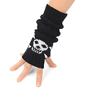 Flammi Unisex Cable Knit Fingerless Arm Warmers Crossbones Jacquard Thumb Hole Gloves Mittens (Black)