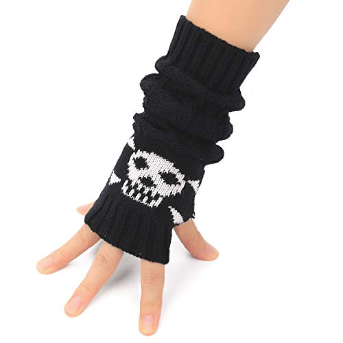 Flammi Cable Knit Fingerless Arm Warmers Thumb Hole Gloves Mittens with Crossbones Jacquard (Black)