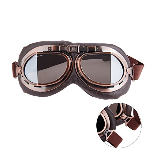 (Helmet Steampunk Vintage Goggles Sunglasses Eyewear for Outdoor Sports Motocross Racer - Silver Len )