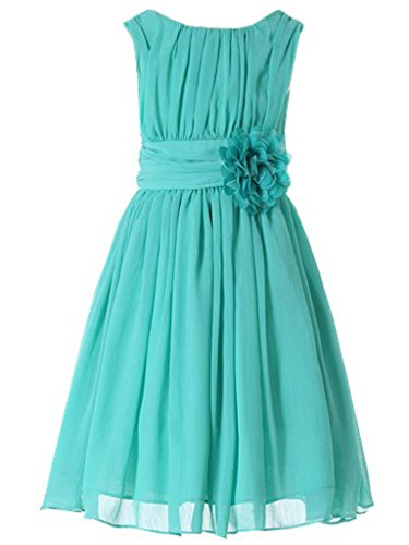 Bow Dream Little Girls Elegant Ruffle Chiffon Summer Flowers Girls Dresses Junior Bridesmaids Turquoise 12