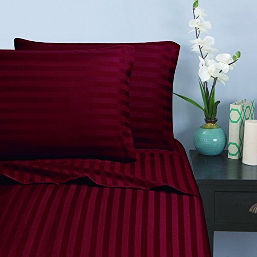 Elegant Comfort Wrinkle & Fade Resistant 1500 Thread Count - Damask Stripes Egyptian Quality Luxurious Silky Soft 4pc Sheet Set, Up to 16