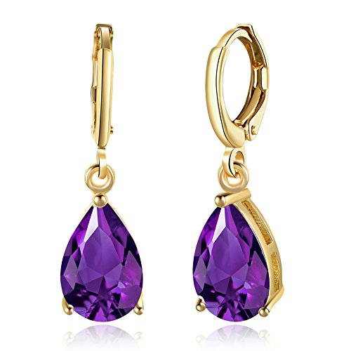 14K Gold Plated Teardrop Cubic Zirconia Dangle Earrings For Womens Girls Best Gift (amethyst) ()