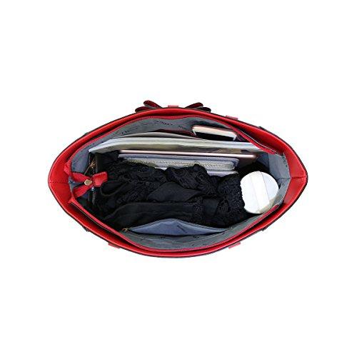Glamourös Doppelbogen Schultertasche für Damen LYDC London Handtasche mit Top Reißverschluss Tasche (Sahne) Wine wAofZFjNWD