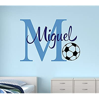 Custom Soccer Name Monogram Wall Decal - Nursery Wall Decals - Soccer Vinyl Wall Decals - Kids Room Decoration (30Wx22H): Baby