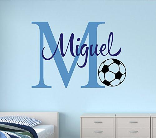 - Custom Soccer Name Monogram Wall Decal - Nursery Wall Decals - Soccer Vinyl Wall Decals - Kids Room Decoration (30Wx22H)