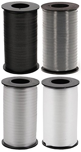 MonoChrome 4-Pack Bundle of Berwick Splendorette Crimped Curling Ribbon - Black, White, Charcoal & Silver - 500 yards each by Berwick