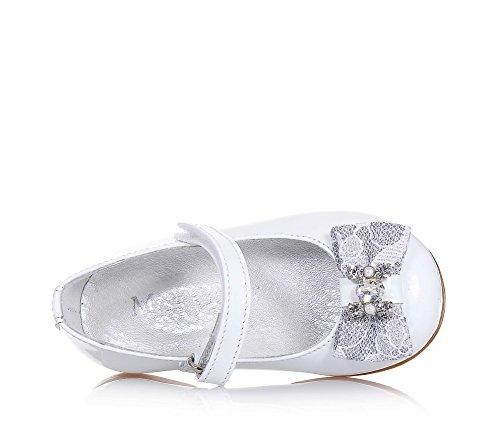 MISS GRANT - Ballerine blanche en vernis, made in Italy, style élégant et glamour, idéale pour les occasions de cérémonie, fille, filles