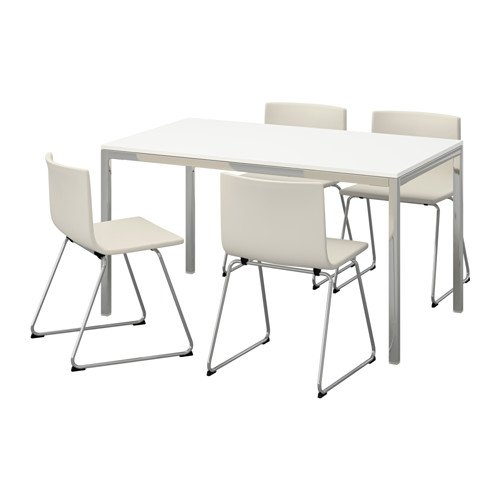 Ikea Table and 4 chairs, high gloss white, Kavat white 8204.261411.2230