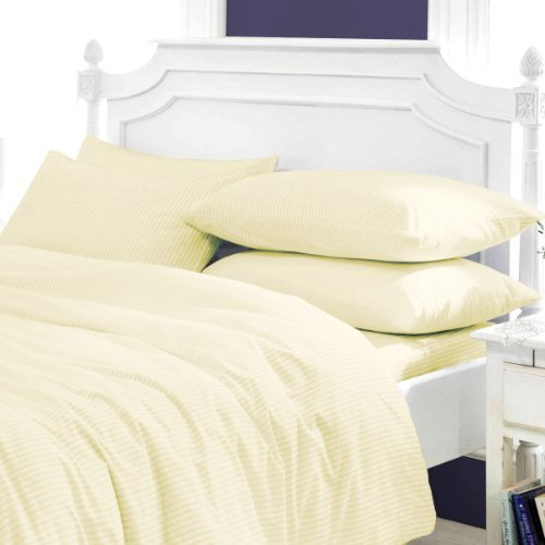 AMERICA EMPORIUM Soft & Comfy SPA LIKE FEEL SUPER FLUFFY Egyptian Cotton HYPOALLERGENIC Made in USA 3-Piece Duvet Cover Set 400 TC Stripe (Queen, Ivory)