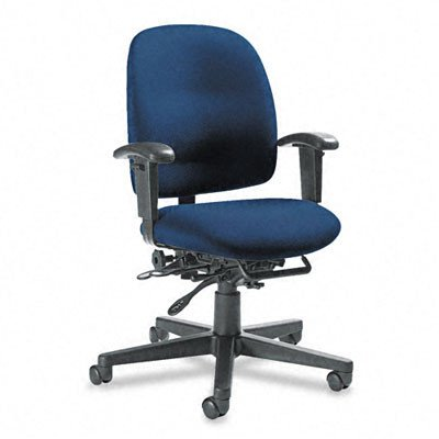 Granada Low-Back Pneumatic Multi Office Chair with Arms and Plain Back Finish: Sapphire